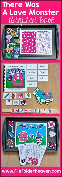 "This Valentine's Adapted Book and Vocabulary Activities, ""There Was a Love Monster,"" is a fun Valentine's Day themed story that focuses on Valentine's Day vocabulary words, basic sequencing skills, and ""Wh"" questions. This download includes 1 adapted book, 1 sequencing stick activity, 1 sorting/classification activity, 1 positional concepts activity, and 1 set of vocabulary labeling cards."