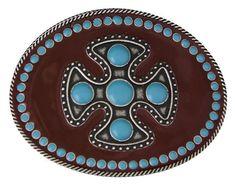 (MSA268) Gothic Southwest Pierced Cross Belt Buckle by Montana Silversmiths