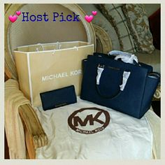 Host Pick4.1.16 AUTHENTIC Micheal Kors NWT Authentic Michael Kors large Selma satchel and billfold wallet  in navy blue. Zip top closure, dual rolled top handles with removable, adjustable shoulder strap. Polished signature logo, detailed hardware. Flat bottom with protective metal feet. Dust bag and shopping bag included!!! MICHAEL Michael Kors Bags Satchels