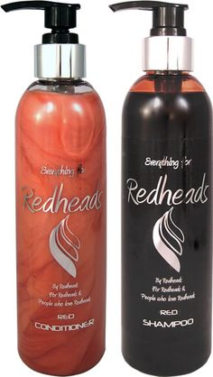 red shampoo and conditioner
