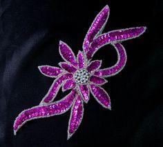 FW189-2 Handmade Flower Hologram Sequin Beaded Applique Fuchsia