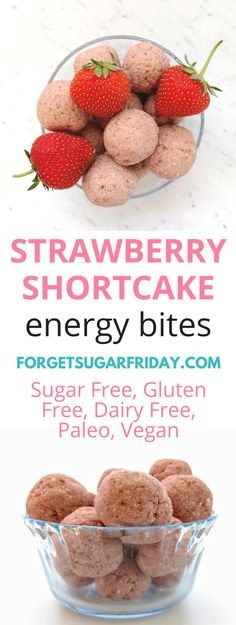 These sugar-free Strawberry Shortcake Bites make a perfect sweet dessert. Best of all, they're sugar-free, gluten-free, dairy-free, Paleo, and vegan, so you can eat them without guilt!