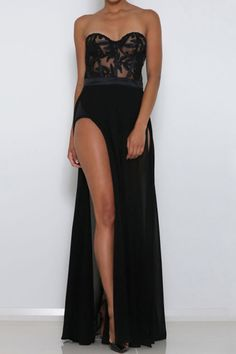 Honey Couture Black Sheer Mesh Bustier Strapless Formal Gown Dress