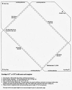 """Envelope from a square piece of paper. A 12""""x12"""" page makes a 6""""x 9"""" envelope. I think I'll try cutting a piece of paper to 7""""x 10"""", rotating and measuring to fit on heavy cardstock, then snip in 1/2"""" triangles and the bottom flap. four corners design: From the heart, part 6"""