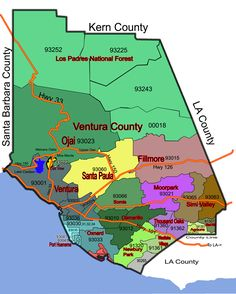 Map of the Ventura County in California. We lived in Piru, Ventura and Oxnard California.