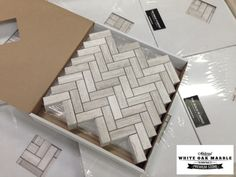 """Arrived the other day White Oak Marble 1x3"""" Herringbone $11.45 a Square Foot and Free Shipping Thru 2016. Amazing product. Saw it a long time ago and really has taken months to put together a complete collection, not just one product. With Tiles, mosaics, baseboard, pencils, chair rail and so on all online fro The Builder Depot."""