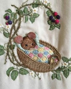 Hand Work Embroidery, Silk Ribbon Embroidery, Crewel Embroidery, Embroidery Patterns, Embroidery Supplies, Cute Baby Drawings, Baby's First Birthday Gifts, Embroidered Baby Blankets, Baby First Christmas Ornament