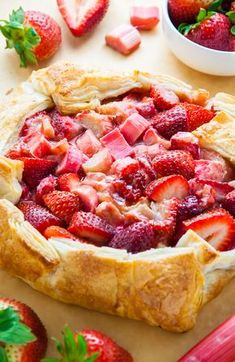 Super Easy Strawberry Rhubarb Galette Today I'm sharing with you my super easy recipe for Strawberry Rhubarb Galette. Top it with ice cream for an extra decadent dessert. Strawberry Puff Pastry, Strawberry Rhubarb Recipes, Rhubarb Galette, Rhubarb Tart, Crostata Recipe, Galette Recipe, Just Desserts, Delicious Desserts, Dessert Recipes