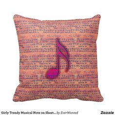 Girly Trendy Musical Note on Sheet Music Cushions