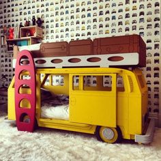 An adorable camper bunk bed to drive off to dreamland in.