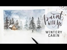 Paint With Me: Winter Landscape Watercolour Painting - Wonder Forest Watercolor Video, Watercolor Painting Techniques, Watercolor Trees, Watercolour Tutorials, Watercolor Landscape, Watercolour Painting, Landscape Paintings, Watercolors, Simple Watercolor