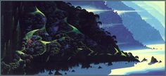 Eyvind Earle, Blue coastline, 1994 on ArtStack #eyvind-earle #art