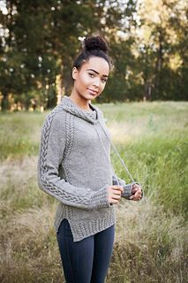 Start with the collar and proceed downward when knitting a pullover you won't want to take off. Unique cables and a drawstring at the neck finish off a top-down pullover that's fun to make and easy to wear. From college kids to distinguished ladies, this is a sweater suited to many!