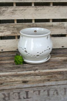 White Ceramic Orchid Pot Orchid Planter by MovingMudPottery