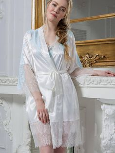 Luxury silk robe. White robe. Bridal lingerie. Snow Queen collection by MiaDivaLingerie on Etsy