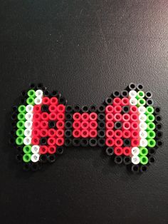 Watermelon Perler Bead Hairbow by HandMadeWLoveDesigns on Etsy