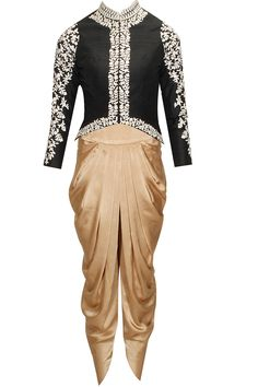 Black aysmmetrical zardosi embroidered jacket with copper dhoti pants available only at Pernia's Pop-Up Shop.