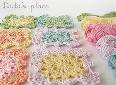 Pastel Crochet Granny Squares from Dada's place: The magic of crochet. This will make a nice child's blanket.