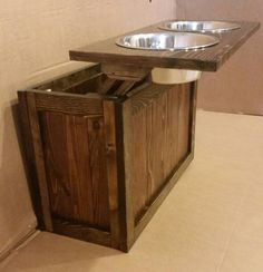 Raised Dog Feeder With Storage, 3 Bowl Dog Feeder, Pet Feeder, Western  Feeder, Elevated Feeder, Three Bowl, Dog Feeder, Rustic Dog Feeder | Rustic  Wood, Dog ...