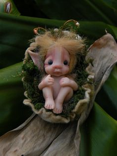 sweet tiny baby fairy fairie with nest by throughthemagicdoor