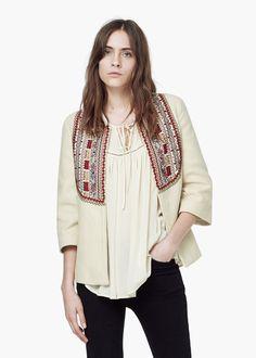 Jacke mit besticktem einsatz - Jacken für Damen | MANGO
