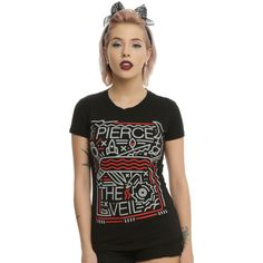 Hot Topic Pierce The Veil Misadventures Girls T-Shirt ($20) ❤ liked on Polyvore featuring plus size women's fashion, plus size clothing, plus size tops, plus size t-shirts, fitted tee, fitted tops and fitted t shirts