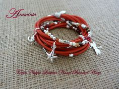 Triple wrap red Nappa leather hand beaded bracelet with gemstone beads & triple plated charms & freshwater pearl, ons size clip clasp with extension chain. £45.00