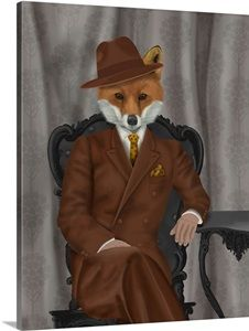 Fab Funky Fox Gentleman Canvas Art - x 48 Big Canvas Art, Artist Canvas, Canvas Art Prints, Fox Pictures, Raven Art, Outdoor School, Plus Size Designers, Plus Size Shopping, Woodland Creatures