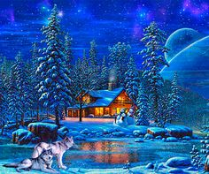 Discover & share this Christmas Eve GIF with everyone you know. GIPHY is how you search, share, discover, and create GIFs. Christmas Scenes, Christmas Art, Beautiful Christmas, Winter Christmas, Winter Szenen, Winter Time, Winter Moon, Beautiful Gif, Beautiful Pictures