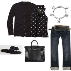 cute outfit; spring/fall with the sweater, or summer without! <3 black/polka dots