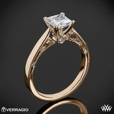 18k Rose Gold Verragio 4 Prong Princess Solitaire Engagement Ring