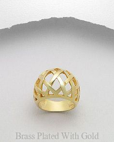 14K Gold Plated Brass Lattice Weave Dome Ring