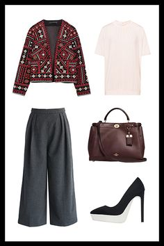For The Personal Assistant Who Has To Know Everything  Show that Hollywood manager or bigwig exec you're the woman to manage their entire life — with an easy-yet-polished outfit. A prim blouse gives this embellished jacket a put-together vibe, especially when paired with culottes. Need a little extra height? Try a platform heel that feels traditional, but with a twist.