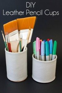 76 Crafts To Make and Sell - Easy DIY Ideas for Cheap Things To Sell on Etsy, Online and for Craft Fairs. Make Money with These Homemade Crafts for Teens, Kids, Christmas, Summer, Mother's Day Gifts. |  Faux Leather Pencil Cup  |  diyjoy.com/crafts-to-make-and-sell
