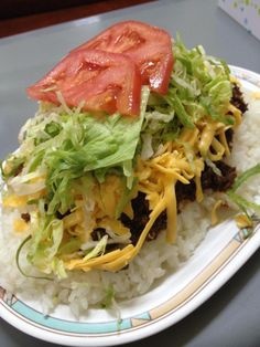Taco rice (タコ ライス)...a simple dish to make, and a favorite of GIs and locals on Okinawa!!