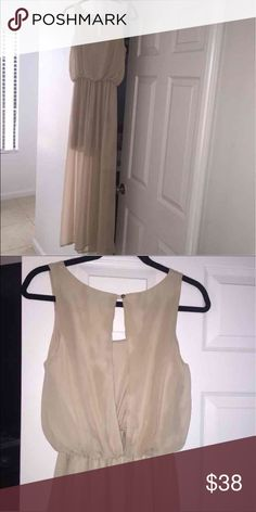 Stunning sheath dress This one is a stunner ladies!! It's a tan-ish blush color.  Short silky slip.  Peep back... It's just so darn pretty.  I no longer fit into this.  Hate to let it go but I love carbs waaaay too much ;) worn 1x.  Buy it for less on Ⓜ️ercari Malloy Dresses Maxi