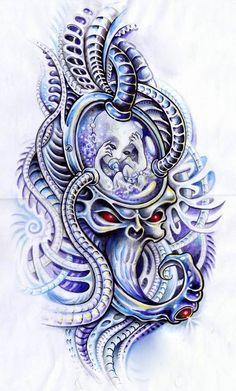 biomechanical facehugger by on DeviantArt Clock Tattoo Design, New Tattoo Designs, Mandala Tattoo Design, Skull Tattoo Design, Tattoo Design Drawings, Tattoo Sketches, Skull Girl Tattoo, Skull Tattoos, Body Art Tattoos