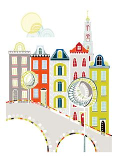 Amsterdam Travel Art Print Skyline Cityscape por lauraamiss en Etsy