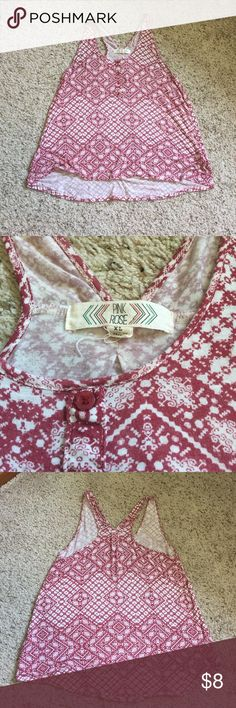 Pink Rose Patterned Tank Top XL Super cute red and white patterned racer back tank from Pink Rose. Size XL, fits flowy on a size medium or large. In great condition, only worn a few times! Very soft and comfortable! Pink Rose Tops Tank Tops