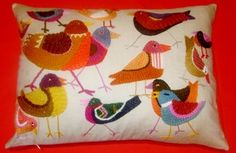 Crewel Birds Pillow