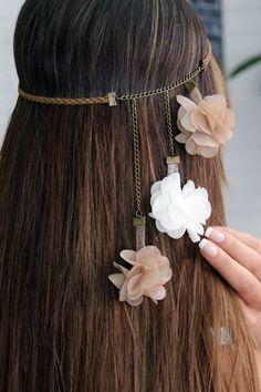 wedding hair with headband Blumenhaarschmuck / Blumenstirnband - - Flower Hair Accessories, Hair Accessories For Women, Wedding Hair Accessories, Jewelry Accessories, Women Jewelry, Diy Hairstyles, Wedding Hairstyles, Hairstyle Ideas, Diy Headband