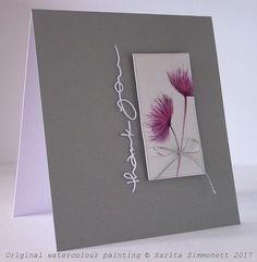 Watercolour flower handmade card 1a -