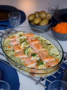 Lax i krämig sås som sköter sig själv i ugnen. En riktigt god rätt där laxen blir saftig och på köpet får man såsen gjord när allt gottar sig tillsammans i ugnen. Lika god att servera med potatis, ris eller pasta. 6 portioner ugnsbakad lax i krämig sås 800 g laxfilé 5 dl grädde (gärna vispgrädde) 3 dl creme fraiche 1 dl hackad färsk dill 0,5 purjolök 1 citron (justera syra efter smak) 1 fiskbuljong eller salt 1 tsk dijonsenap Salt & peppar Topping (valfritt): 200 g skalade räkor Gör såhär...