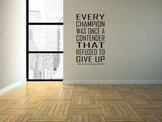 Every Champion was once a contender that refused to give up. Made from professional grade vinyl, This wall art by Abrupt Design comes as one complete piece, is easy to apply, removes cleanly from your wall, and leaves no sticky residue. All of our products are easily removed, but not reusable. **Listing picture is to represent what the decal could look like in a room setting. it does not represent the size. The dimensions for this listing are posted above. If the size you require is not…