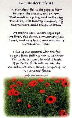 In Flanders Fields...Our sixth grade class performs this poem every year at our Veteran's Day Program...What a wonderful tribute. I love it.