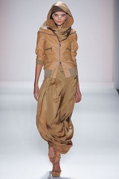 "Nicholas K took inspiration from the 1970s sci-fi film ""Soylent Green"" to create an ""apocalyptic nomad"" look. #NYFW"