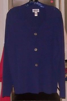 NWOT CHICO'S DESIGN KNIT CARDIGAN SOLID ROYAL BLUE RAYON/NYLON SZ 1  in Clothing, Shoes & Accessories, Women's Clothing, Sweaters | eBay