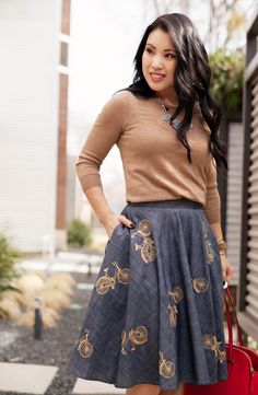 cute & little blog | eshakti bicycle chambray full skirt, house of harlow blue necklace, jcrew charley camel sweater, kate spade cedar street elissa red bag outfit