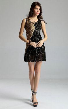 Damen Sommer Pfau Pfauen ärmellose Seide Satin Abend Party Cocktail Mini Kleid Leopard