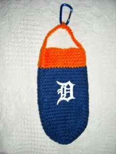 "HOOK-IT Crocheted Water Bottle Holder ""Detroit Tigers"" - Handmade Water Bottle Holders, Cup Holders, Detroit Tigers, Crocheting, Craft Ideas, Crafty, Quilts, Sewing, Knitting"